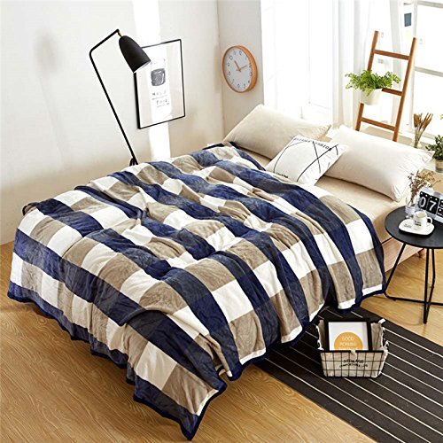 WDDH Double-sided Pattern Flannel Pile Blanket Striped Plaid Super Soft Warm Thick Fluffy Weighted Blanket Bed Travel SofaThrow Blankets King or Queen Size