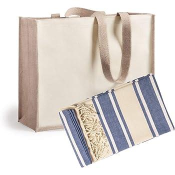 Publiclick Pareo Toalla de Algodón organico Servido en Bolsa de Yute y algodón, pareo110g/m2. Med 180 x 90 cm, Tamaño Bolsa 39 x 31,5 + 16 cm (Azul): Amazon.es: Hogar
