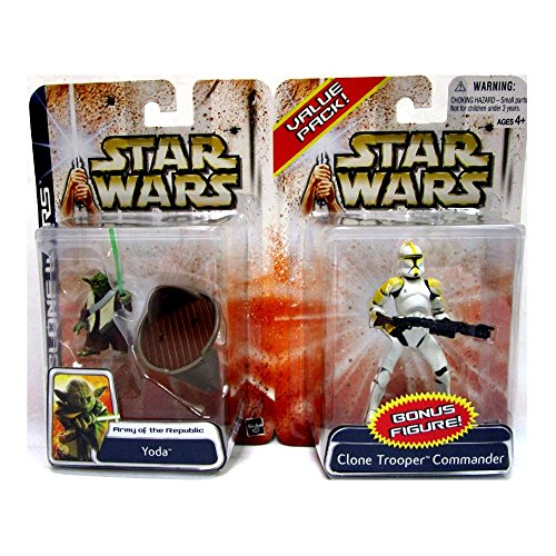 Jedi Master Yoda & Clone Trooper Commander im Set - Star Wars The Saga Clone Wars Collection 2003 von Hasbro
