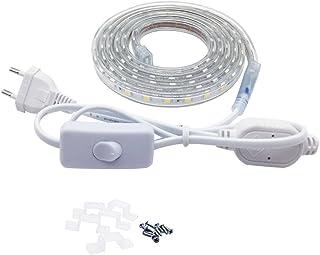 Tira LED con Interruptor, 220V IP65 de Impermeable para Interiores y Exteriores Decorar,5050 Cinta de Led,2 Metro, Blanco Cálido