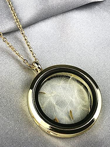 Medaillon Kette mit Echten Pusteblumen - Vergoldet - 70cm - Handgefertigt - Aufklappbar