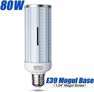 80W LED Corn Light Bulb, Large Mogul E39 Base, 8000-Lumen, 6500K Daylight Cool White, AC 85V-265V, LED Corn Bulb for Large Area Garage Factory Warehouse High Bay Barn Shopping Mall Supermarket