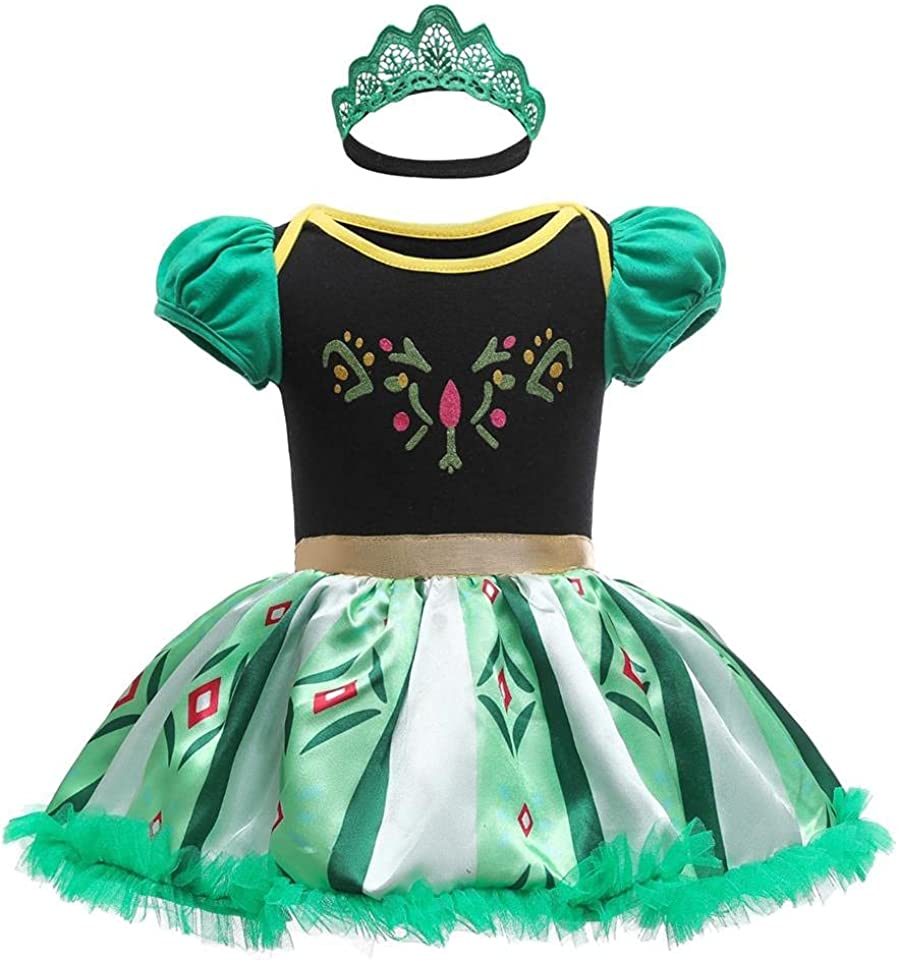 Dressy Daisy Baby Girl Princess Romper Costumes Onesie Dress Bodysuit with Headband Halloween Birthday Party Fancy Outfits