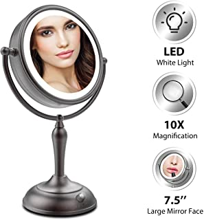 Lighted Makeup Mirror, 7.5 Inch Makeup Mirror with Magnification, 1x/10x Magnifying Mirror with Light, Double Sided, AC Adapter Or Battery Operated, LED Natural White Light, Cord Or Cordless, Black
