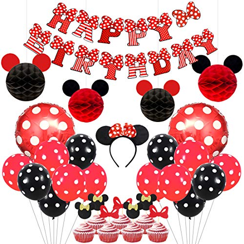 Mickey and Minnie Party Supplies Red and Black Ears Headband Happy Birthday Banner Polka Dot Balloons Set for Minnie Themed Party Decorations