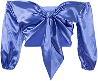 UUGYE Women's Long-Sleeve Crop Tops Summer Tie Knot Sexy V Neck Tee Shirts Blouse Top