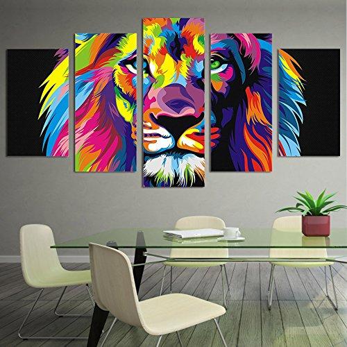 WJDJT 5 Piezas Lienzos Cuadros Pinturas León Animal Colorido Impresiones En Lienzo Decoración para El Arte De La Pared del Hogar, Salón Oficina Mordern Decoración Artística