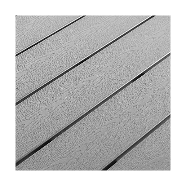 Mojawo 7er Set Alu Silber Gartenmöbel Gartengarnitur Polywood 150x90x74cm + 6 Stapelstühlen Textilen