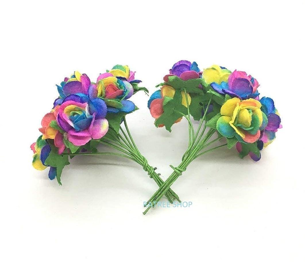RATREE SHOP 100 pcs Mini Rose Rain Bow Color Mulberry Paper Flowers 10 mm Scrapbooking Wedding Doll House Supplies Card Mini Paper Flowers