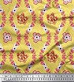 Soimoi Gelb Schwerer Canvas-Gewebe-Blumen mit Blumenmustern