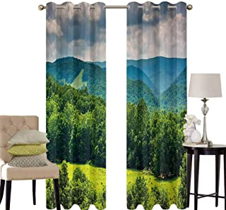 hengshu Landscape Pattern Curtains Blackout View of Mountains in Potomac Highlands of West Virginia Rural Scenery Picture Bedroom Decor Living Room Decor W42 x L84 Inch Forest Green