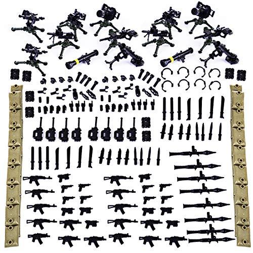 Adatto per Lego Minifigure e Militare Minifigures Potente schieramento: sette armi pesanti, tra cui blaster macchina leggera, blaster macchina pesante, razzi, mortai, ecc., Oltre a granate, gilet, pugnali, manganelli, blaster, walkie-talkie, blaster ...