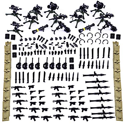 Lingxuinfo 192Pcs Military Army Weapons Toy Weapon Accessories for Brick Figures Army Weapons Sandbag Bricks Building Blocks Toy Compatible with Major Brand