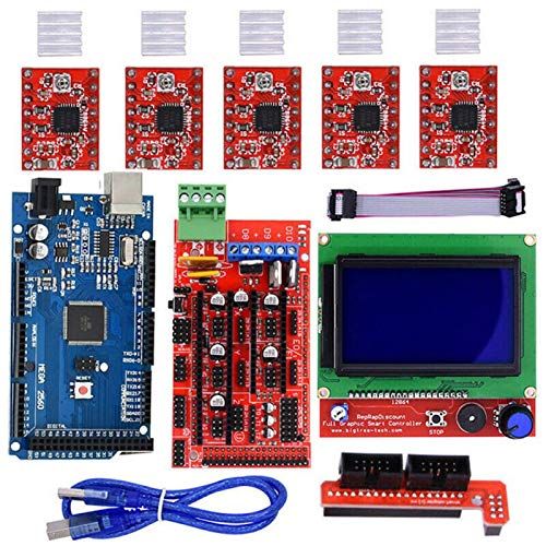 POHOVE 3D-Drucker-Controller-Kit mit RAMPS 1.4, Mega 2560 Board, 5pcs A4988 Schrittmotor-Treiber mit Kühlkörper, LCD 12864 Graphic Smart Display Controller mit Adapter für Arduino o Rep-Rap