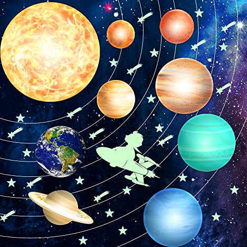 HORIECHALY 98 PCS Glow in The Dark Stars and Planets Stickers Solar System Wall Stickers Ceiling Decoration for Any Room