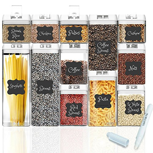 Shazo Airtight Container Set for Food Storage - 12 PC Set + Measuring Cup + 18 Labels & Marker - Strong Heavy Duty Plastic - BPA Free - Airtight Storage Clear Plastic w/White Interchangeable