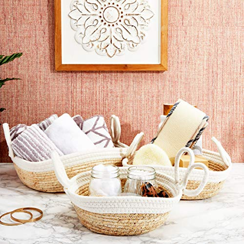 Farmlyn Creek Wicker Storage Baskets with Handles, White and Natural Seagrass (3 Pieces)