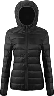 Women's Puffer Packable Down Jacket Ultra Light Weight Short Coat with Travel Bag