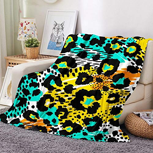 XZDPPTBLN Flannel Blanket Blue Yellow Black Leopard Print Fleece Print Blankets Bed Blanket Soft Throw Blanket Lightweight Cozy Blanket for All Season 28x59 inch/ 40cm x 100cm