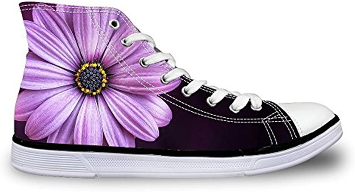 HUGSIDEA Fashion Floral Canvas High Top Sneakers for Women Girls