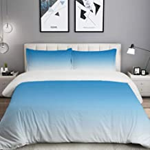 MIGAGA Duvet Cover Set, Ombre Skyscape for Blue Lovers Print, Custom 3 Piece Bedding Set with 2 Pillow Shams, Queen/Full Size