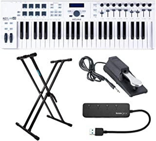 Arturia KeyLab Essential 49 Keyboard Controller with Knox X Stand, Sustain Pedal and 4-Port 3.0 USB Hub Bundle (4 items)