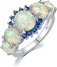 CiNily Silver Plated Green Opal Emerald Gemstone Ring Size 5-12