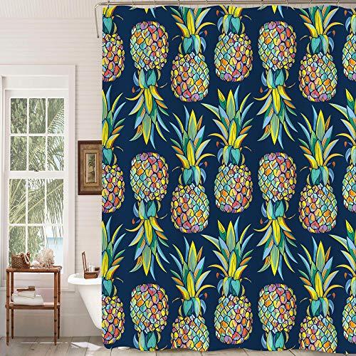 MitoVilla Duschvorhang mit tropischen Früchten, Ananas, Badezimmer-Dekoration, Aloha-Dschungelpflanze, Badezimmer-Zubehör, Ananas-Geschenke für Frauen, Männer, Kinder & Mädchen, bunt, 182,9 cm B x L