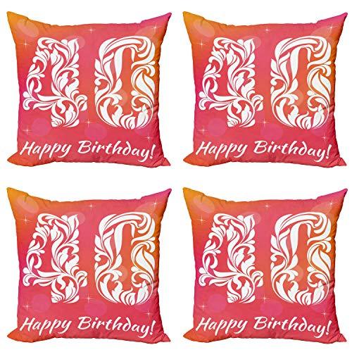 ABAKUHAUS 40 cumpleaños Set de 4 Fundas para Cojín, Feliz felicitación Floral, Estampado Digital en Ambos Lados y Cremallera, 60 cm x 60 cm, Rosa Blanco Naranja