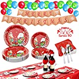 Christmas Party Supplies Christmas Paper Plates and Napkins Xmas Decorations 218 Pcs Disposable Dinnerware Set Plates Napkins Knives Forks Spoons Tablecloth Banner Balloons Santa Hat Scarf-Serves 30