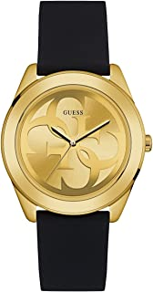 Comfortable Gold-Tone + Black Stain Resistant Silicone Logo Watch. Color: Black (Model: U0911L3)