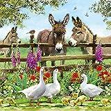 20 Servietten Tiere am Zaun als Tischdeko mit Tieren für den Frühling und Sommer 33x33cm