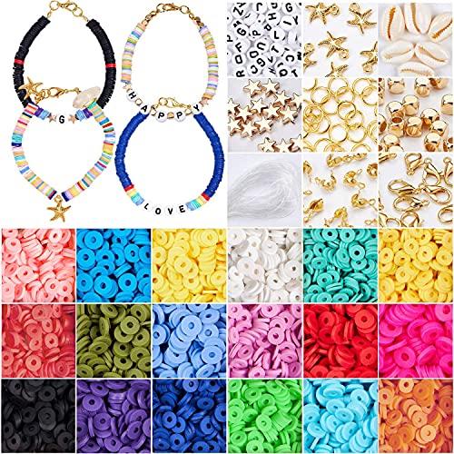 HJCZ Juego de 4500 cuentas planas de arcilla de polímero de 6 mm con anillos de salto colgantes y cuerda elástica para pulsera agujero de abalorios (color estilo 1)