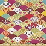 Lunarable Kawaii Stoff von The Yard, Japanische Lustige