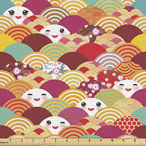 Lunarable Kawaii Fabric by The Yard, Japanese Asian Funny Anime Fashion Faces Childish Happy Half Circles Nursery Art, Decorative Fabric for Upholstery and Home Accents, 1 Yard, Beige Burgundy
