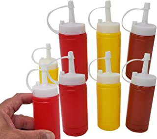 Mini Condiment Dispenser Set Ketchup, Mustard & BBQ Sauce (12 Bottles) Squeeze Bottles 6 Oz.