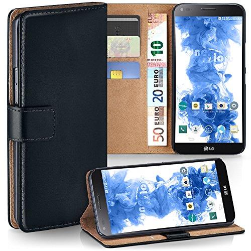 MoEx Premium Book-Case Handytasche kompatibel mit LG G Flex 2 | Handyhülle mit Kartenfach und Ständer - 360 Grad Schutz Handy Tasche, Schwarz
