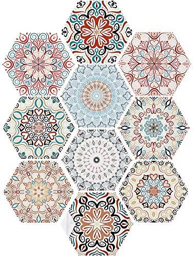 CHANGXIE 10 Piezas de Pegatina de Azulejos, Hexagonal Auto Adhesivo para baldosas Transferen