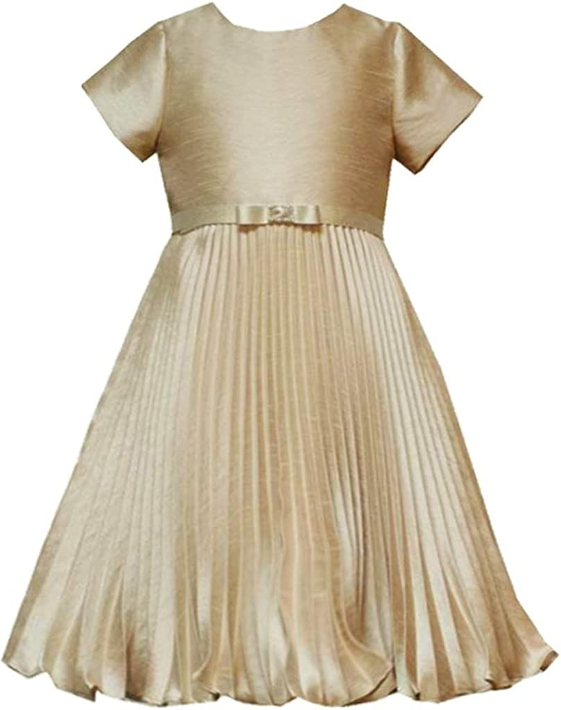 Rare Editions Little Girls 2T-6X Gold Pleated Shantung Social Party Dress