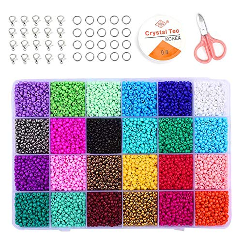 12500 Stück Mini Glasperlen 3mm Glasperlen zum Auffädeln Set mit Zubehör Bunt Glasperlen Mini-Perlen DIY Armband 24 Farben Bastelperlen,Perlen Zum Auffädeln Perlenschnur Making Set
