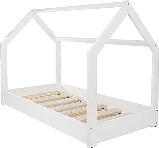 Velinda Lit Maison 2 en 1, Chambre d'enfant, Construction cabane, Bois Naturel 160x80 cm (Couleur: Blanc)