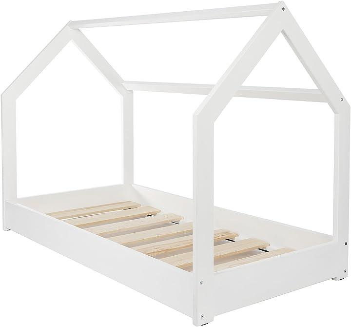 Letto & casa in legno stile scandinavo nordico bambino cameretta 160x80cm (colore: bianco) velinda Velinda-27500-1