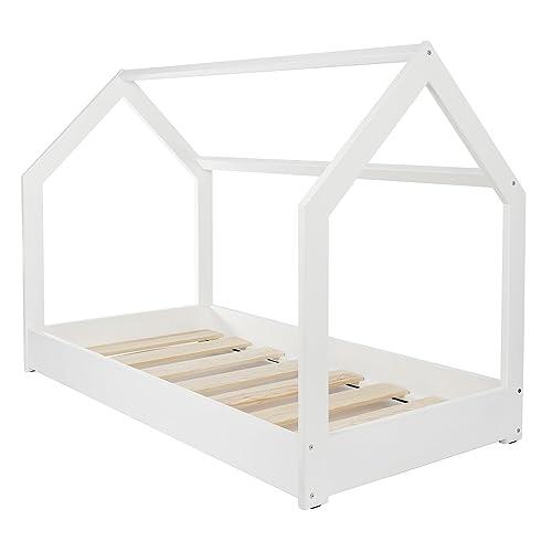 Velinda Lit Maison 2 en 1, Chambre d'enfant, Construction cabane, Bois Naturel 190x90cm (Couleur: Blanc)