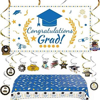 Graduation Banner 2021 Graduation Decorations Extra Large Blue Gold Congratulations Grad Photo Backdrop Graduation Party Table Cloths Whit 12PCS Hanging Swirls Strings Graduation Party Supplies
