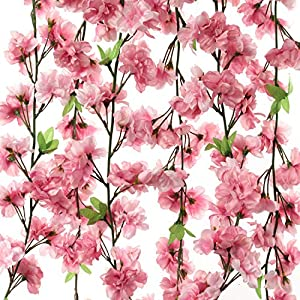 Larksilk Cherry Blossom Flower Garland, Dark Pink & Green Hues, Three 4.5Ft Garlands, 114 Total Silk Cherry Blossom Flowers, Increase Garland Length by Tying Together