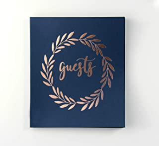 Wedding Guest Book Polaroid Guest Book 8.5x7 Flat-Lay Navy & Rose Gold Wedding Guestbook Bridal Shower Guest Book Alternative Instax Guestbook Polaroid Guestbook (Navy)