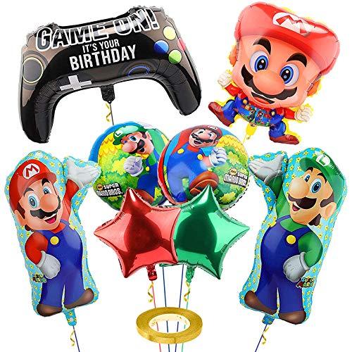 Yisscen Globos Cumpleaños Super Mario Papel de Aluminio Globo Set Decoración de Fiesta para Navidad decoración de cumpleaños Artículos para Fiestas 9PCS