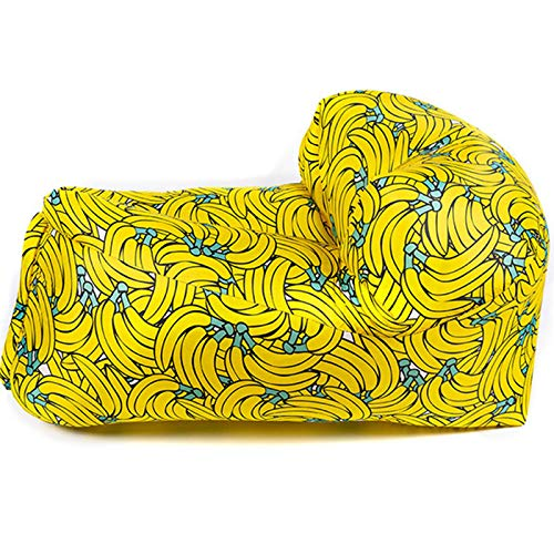 GJNWRQCY Lazy Air Sofa für Freizeitaktivitäten im Freien, umwickeltes aufblasbares Stuhlsofa, Starke Belastung, wasserdichte Beschichtung, geeignet für Picknick, Schwimmen, Reisen, Strand,Banana