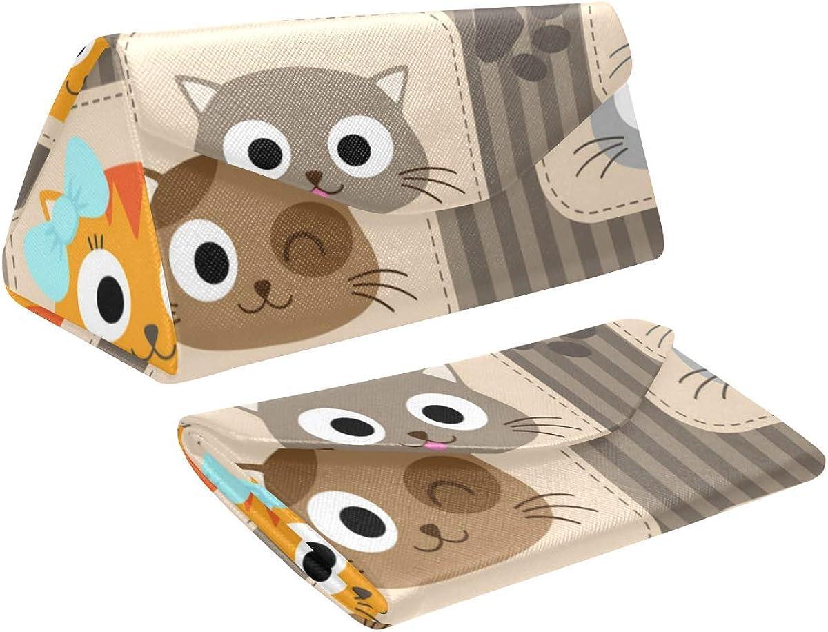 Glasses Case Cute Cats Eyeglass Case Leather Magnetic Folding Hard Case Sunglasses Eyewear Protective Case