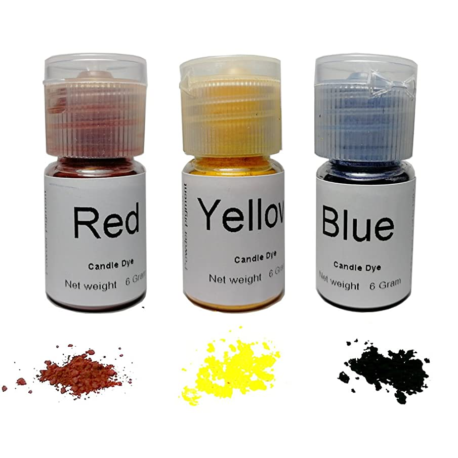 Candle Dye Highly Concentrated Assorted Bottle,0.2-Ounce,Red,Orange and Blue,3/pkg,Each Bottle can be Made 11 LB Soy Candle Wax
